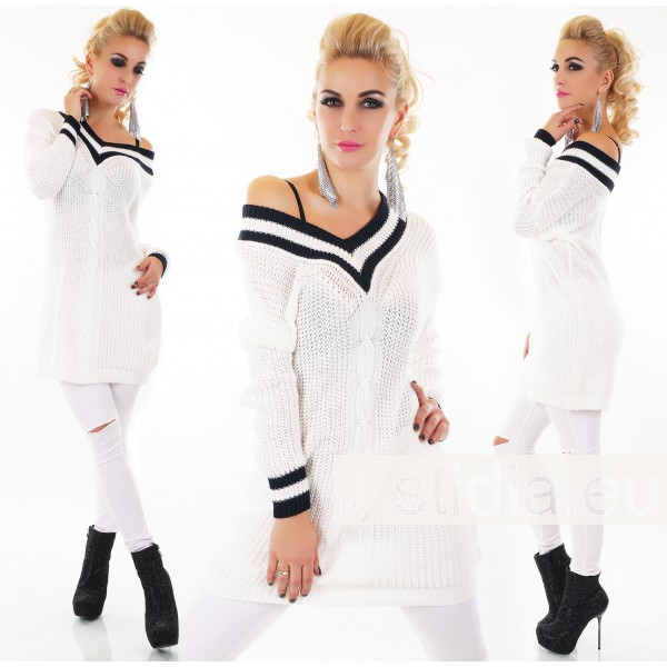 SEXY LONG PULLOVER WEISS