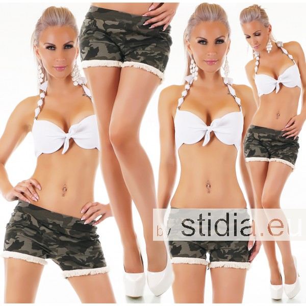 SEXY HOT PANTS SHORTS FRANSEN CAMOUFLAGE GRÜN