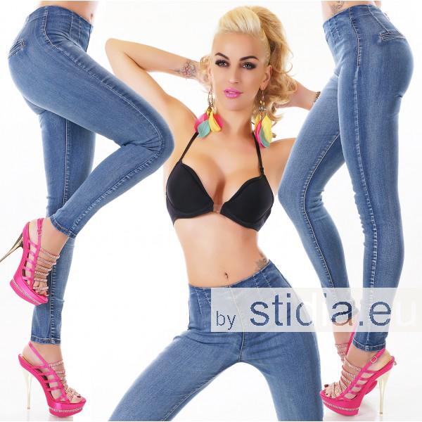 10 Stück HIGH WAIST STRETCH Jeans BLAU