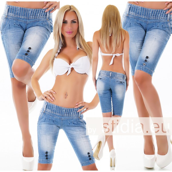 10 Stück SEXY JEANS SHORTS BERMUDA BLUE WASHED
