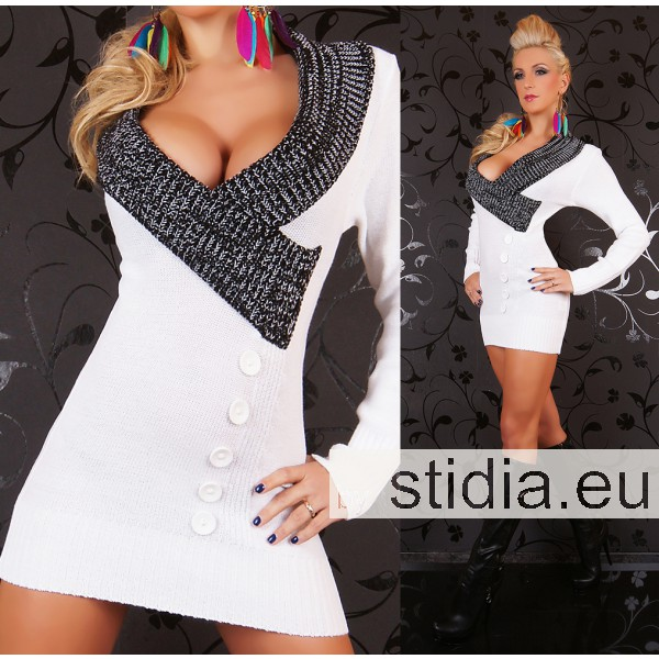 SEXY STRICK MINI KLEID LONG PULLOVER WEISS