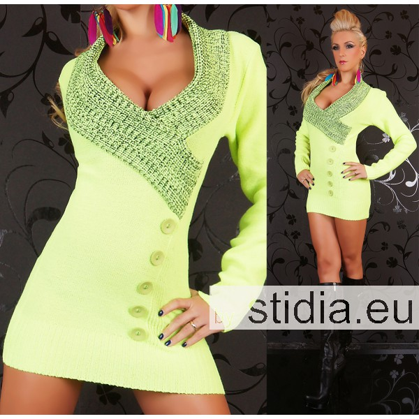 SEXY STRICK MINI KLEID LONG PULLOVER GELB