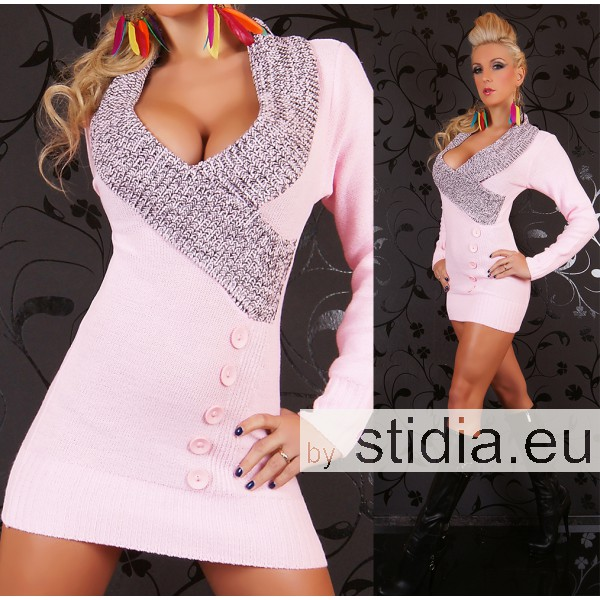 SEXY STRICK MINI KLEID LONG PULLOVER ROSA