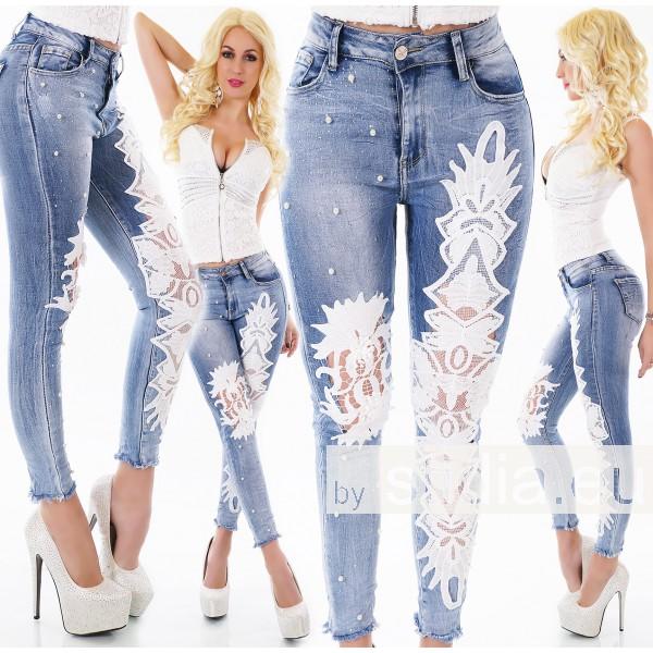 10 Stück SEXY HIGH WAIST Jeans BLUE WASHED
