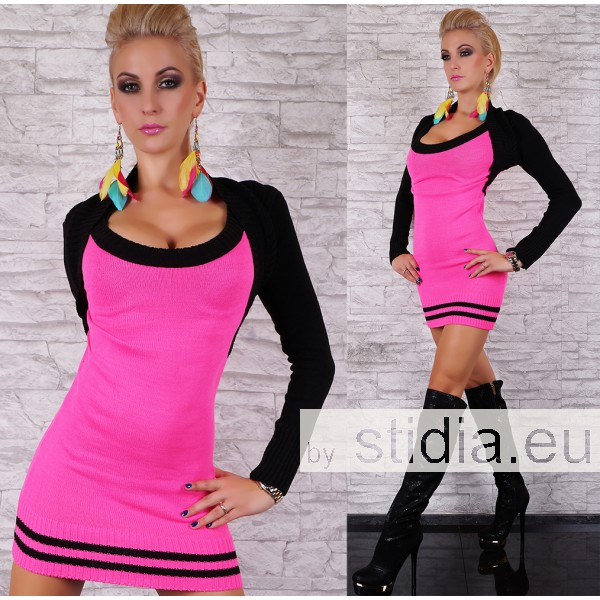 SEXY STRICK LONG PULLOVER PINK-SCHWARZ