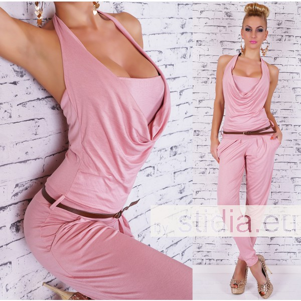 SEXY OVERALL JUMPSUIT INCL. GÜRTEL ROSA