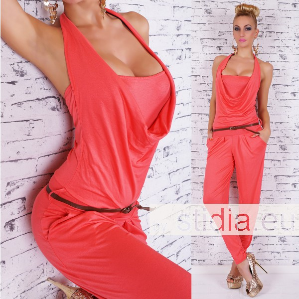 SEXY OVERALL JUMPSUIT INCL. GÜRTEL CORAL