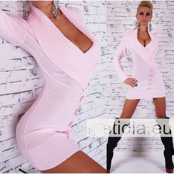 SEXY STRICK LONG PULLOVER ROSA-WEISS