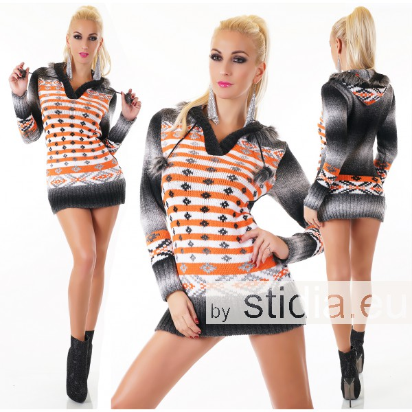 SEXY LONG WOLL-PULLOVER ORANGE