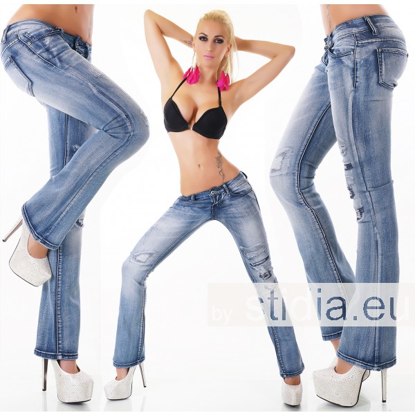 12 Stück SEXY Jeans BOOTCUT BLUE WASHED
