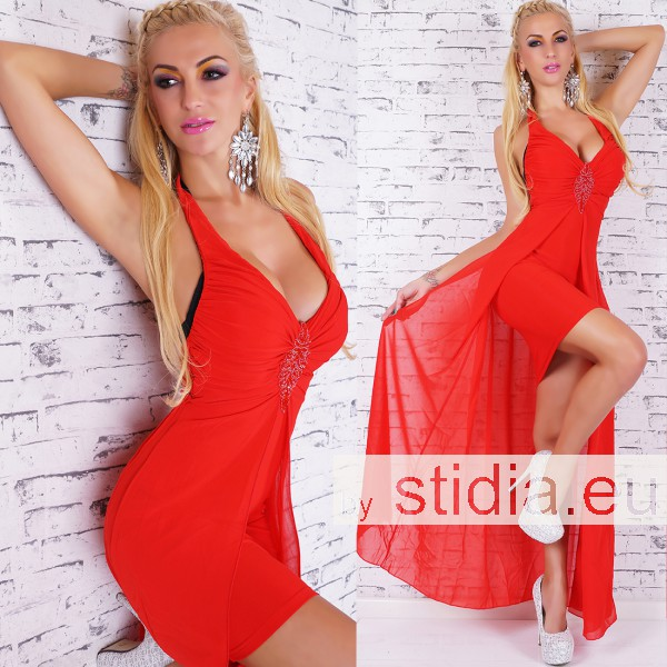 SEXY MINI KLEID SCHLEPPE ROT
