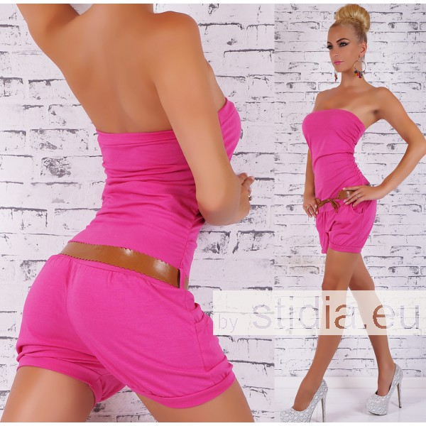 SEXY HOT PANTS OVERALL PINK