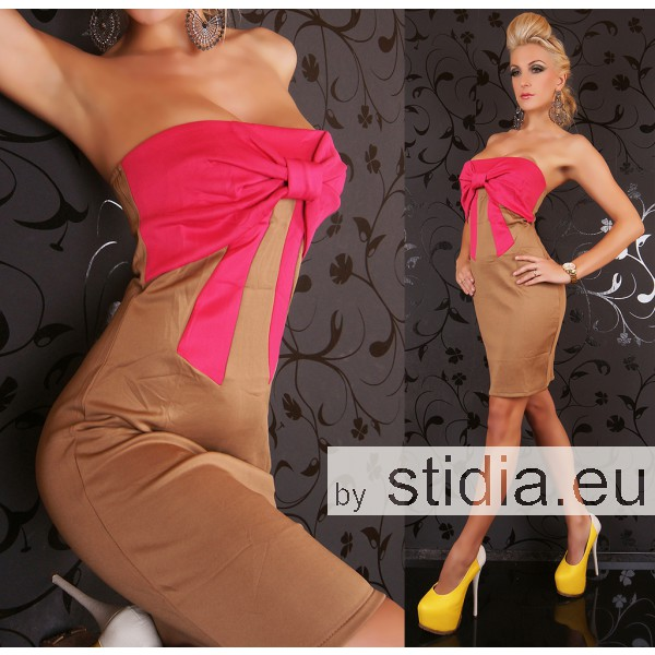 2 STÜCK SEXY GLAMOUR KLEID  CAPPUCCINO-PINK