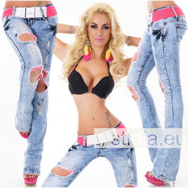 10 Stück SEXY Jeans BOOTCUT DESTROYED INCL. GÜRTEL
