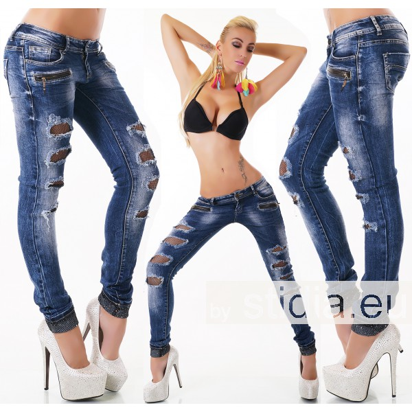 10 Stück SEXY Jeans DESTROYED LOOK BLUE WASHED