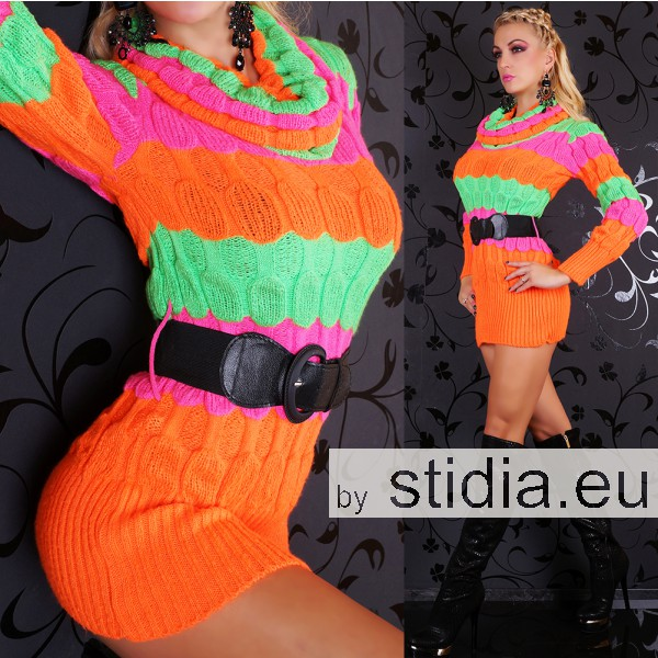 SEXY LONG PULLOVER STRICK KLEID MIT GÜRTEL ORANGE