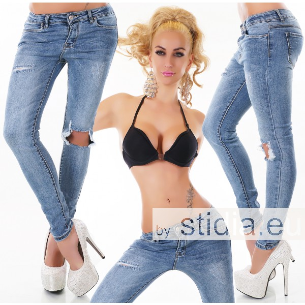 10 Stück SEXY Jeans DESTROYED LOOK BLAU