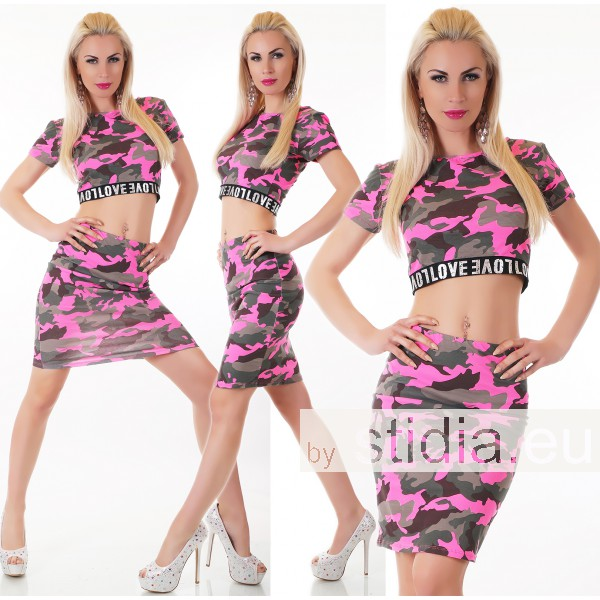 SEXY 2-TEILIGES SET: TOP + ROCK CAMOUFLAGE PINK