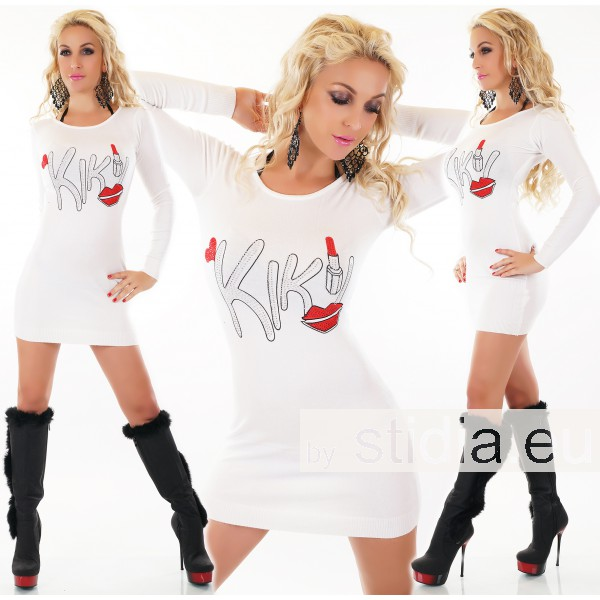 SEXY LONG KNTTED PULLOVER WHITE