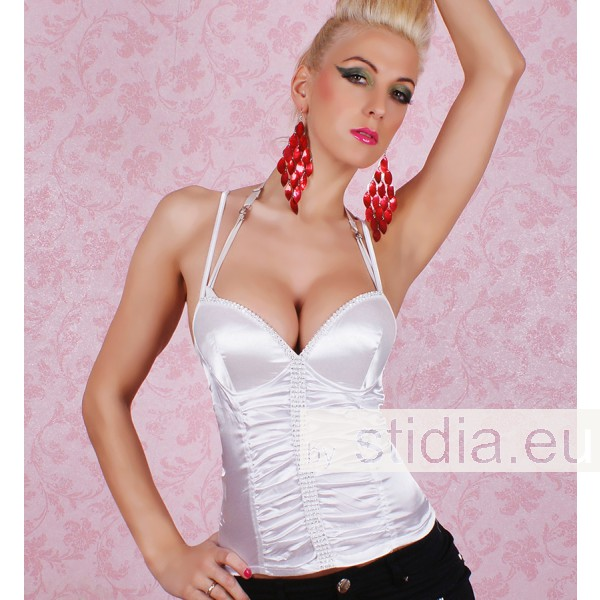 SEXY REDIAL TOP SATIN STRASS WEISS