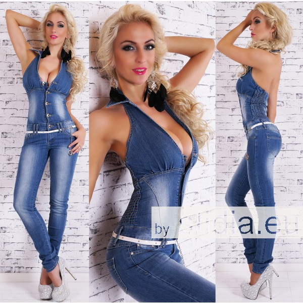 10 Stück Sexy JEANS OVERALL BLUE WASHED INCL. GÜRTEL