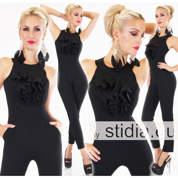 SEXY OVERALL JUMPSUIT ITALY SCHWARZ