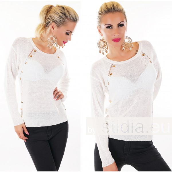 SEXY PULLOVER WEISS-GOLD