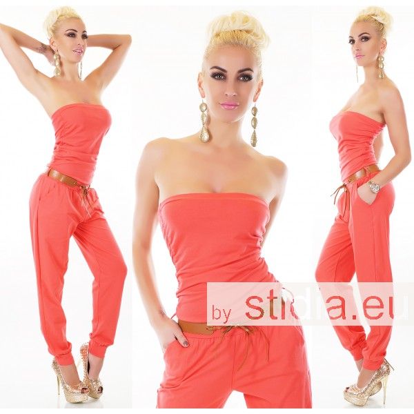 SEXY OVERALL JUMPSUIT CORAL