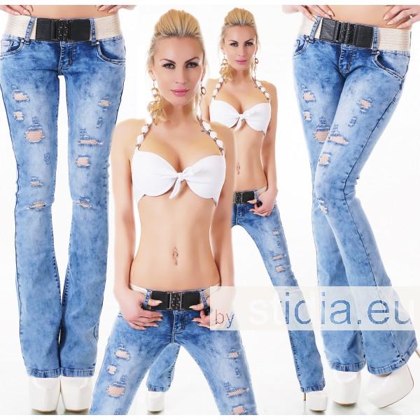 10 Stück SEXY Jeans BOOTCUT INCL. GÜRTEL BLUE WASHED