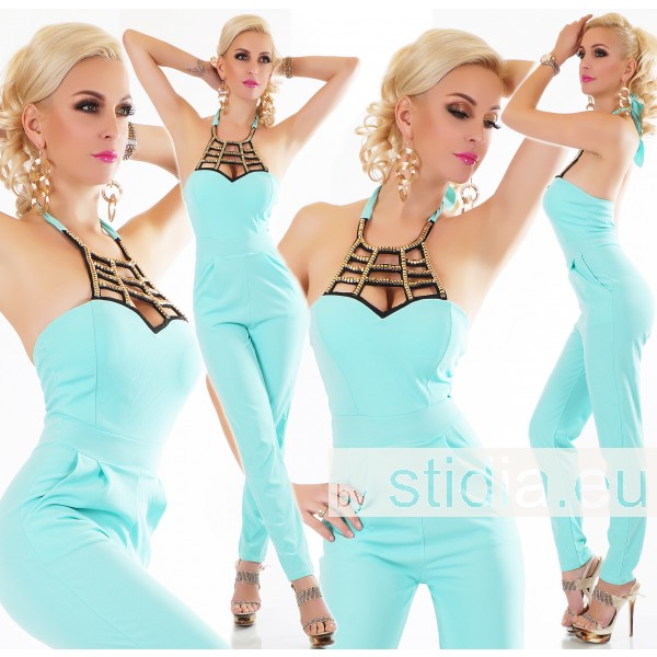 SEXY OVERALL JUMPSUIT ITALY TÜRKIS