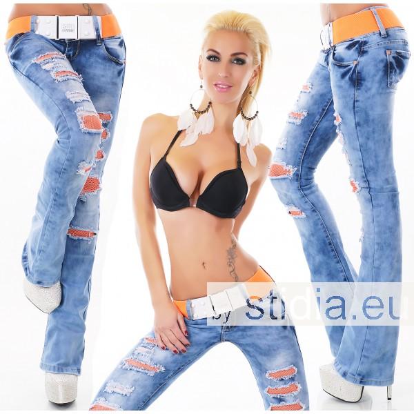 10 Stück SEXY Jeans DESTROYED BOOTCUT INCL. GÜRTEL