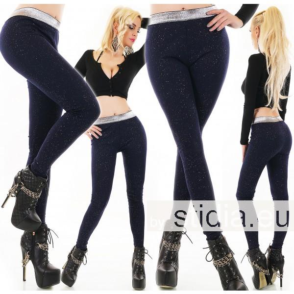 2 STÜCK SEXY FEINSTIRCK LEGGINGS HOSE mit GLITZER BLAU