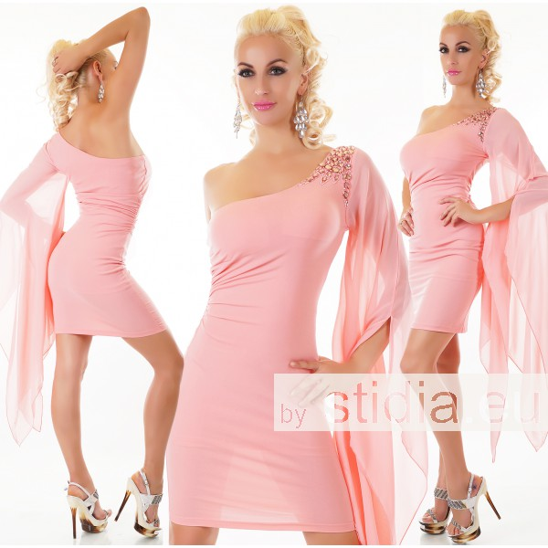 SEXY ONE SHOULDER KLEID ROSA