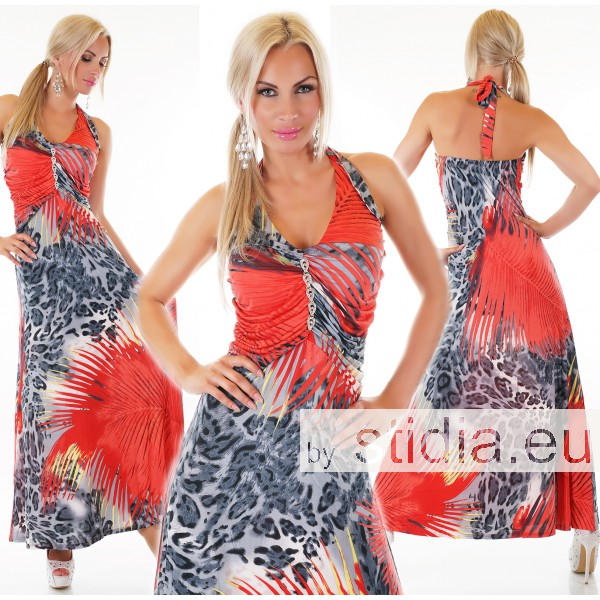 SEXY MAXI KLEID CORAL-ROT