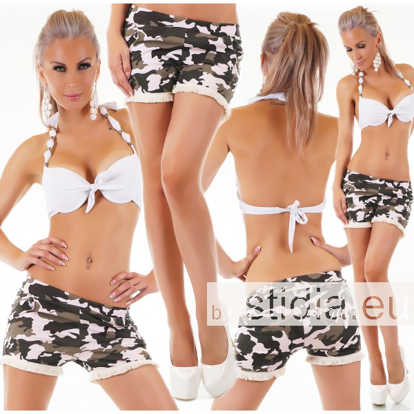 SEXY HOT PANTS SHORTS FRANSEN CAMOUFLAGE ROSE