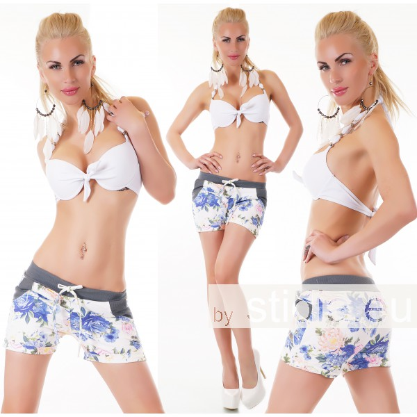 SEXY HOT PANTS SHORTS WEISS-BLAU/ROSA