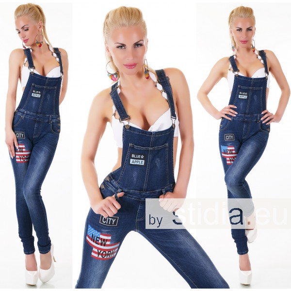 10 Stück SEXY LATZ-Jeans BLUE WASHED