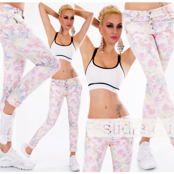 10 Stück SEXY Jeans BLÜMCHEN MUSTER WEISS-ROSA