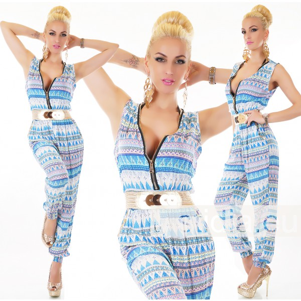 SEXY OVERALL JUMPSUIT ZIP BLAU-ROSA