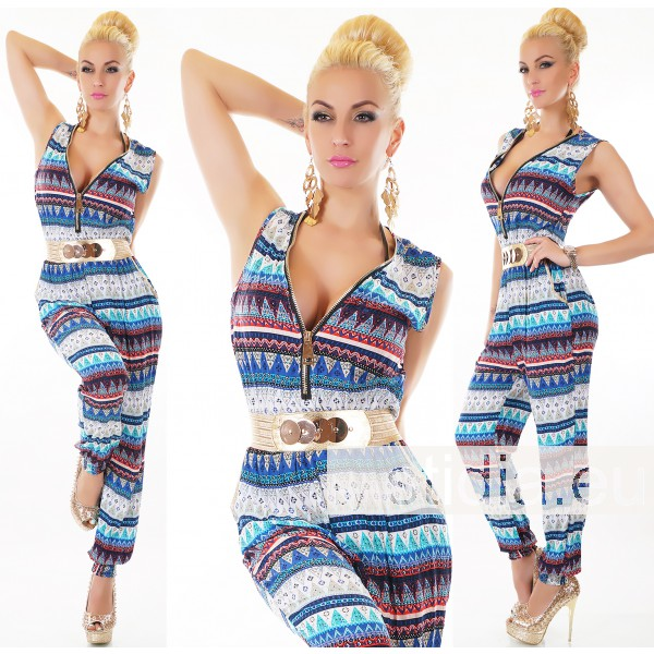SEXY OVERALL JUMPSUIT ZIP BLAU-ROT