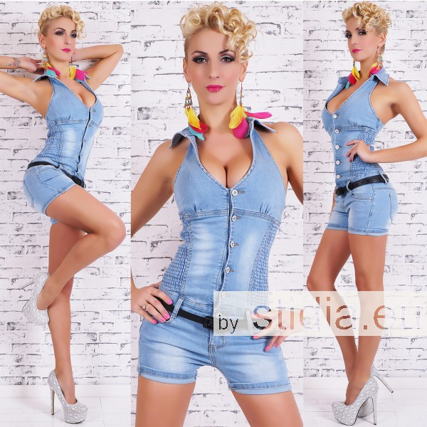 10 Stück Sexy JEANS HOT PANTS OVERALL BLUE WASHED INCL. GÜRTEL