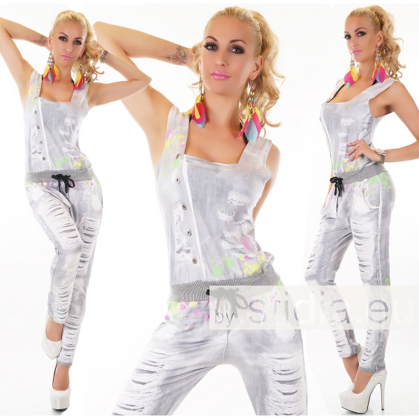 SEXY OVERALL JUMPSUIT PRINT GRAU