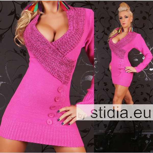SEXY STRICK MINI KLEID LONG PULLOVER PINK