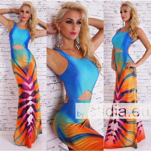 SEXY MAXI KLEID BLAU-ORANGE