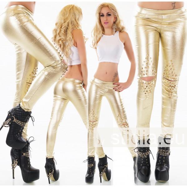 3 STÜCK SEXY WET LOOK HOSEN RISSE GOLD