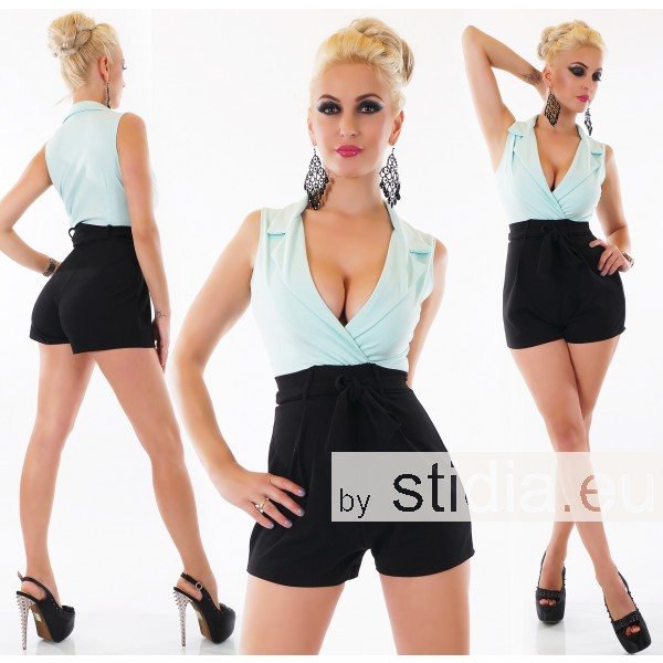 SEXY HOT PANTS OVERALL JUMPSUIT SCHWARZ-MINT