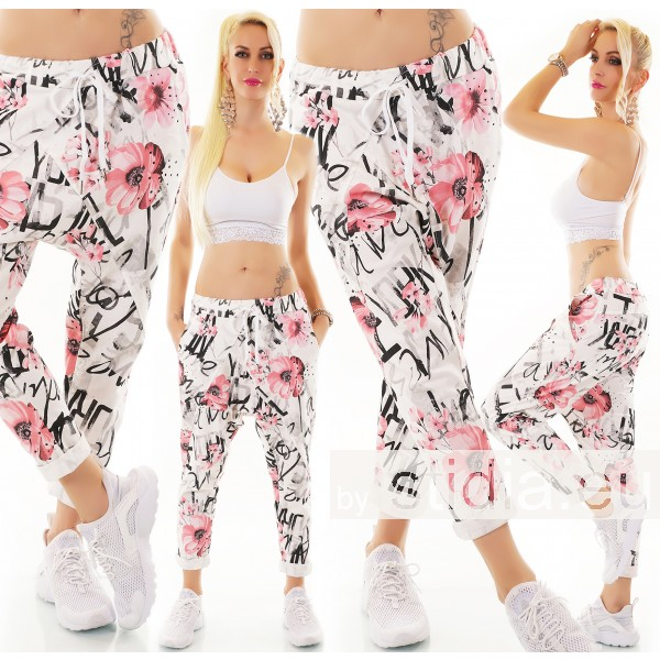 SEXY HAREM HOSE JOGPANTS WEISS-ROSA ITALY