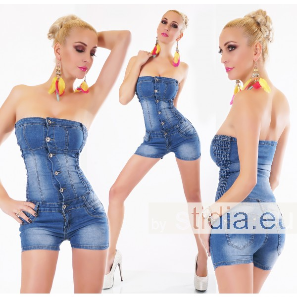 10 Stück Sexy JEANS HOT PANTS OVERALL BLUE WASHED