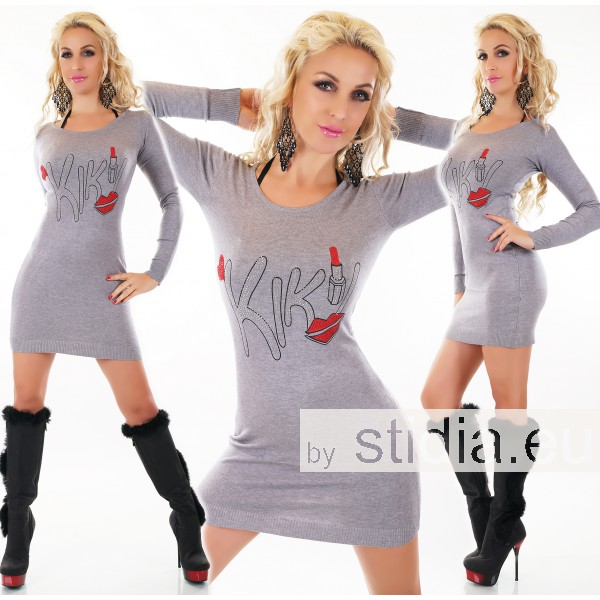 SEXY LONG PULLOVER GRAU
