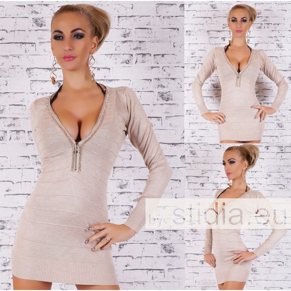 SEXY STRICKKLEID LONG PULLOVER BEIGE